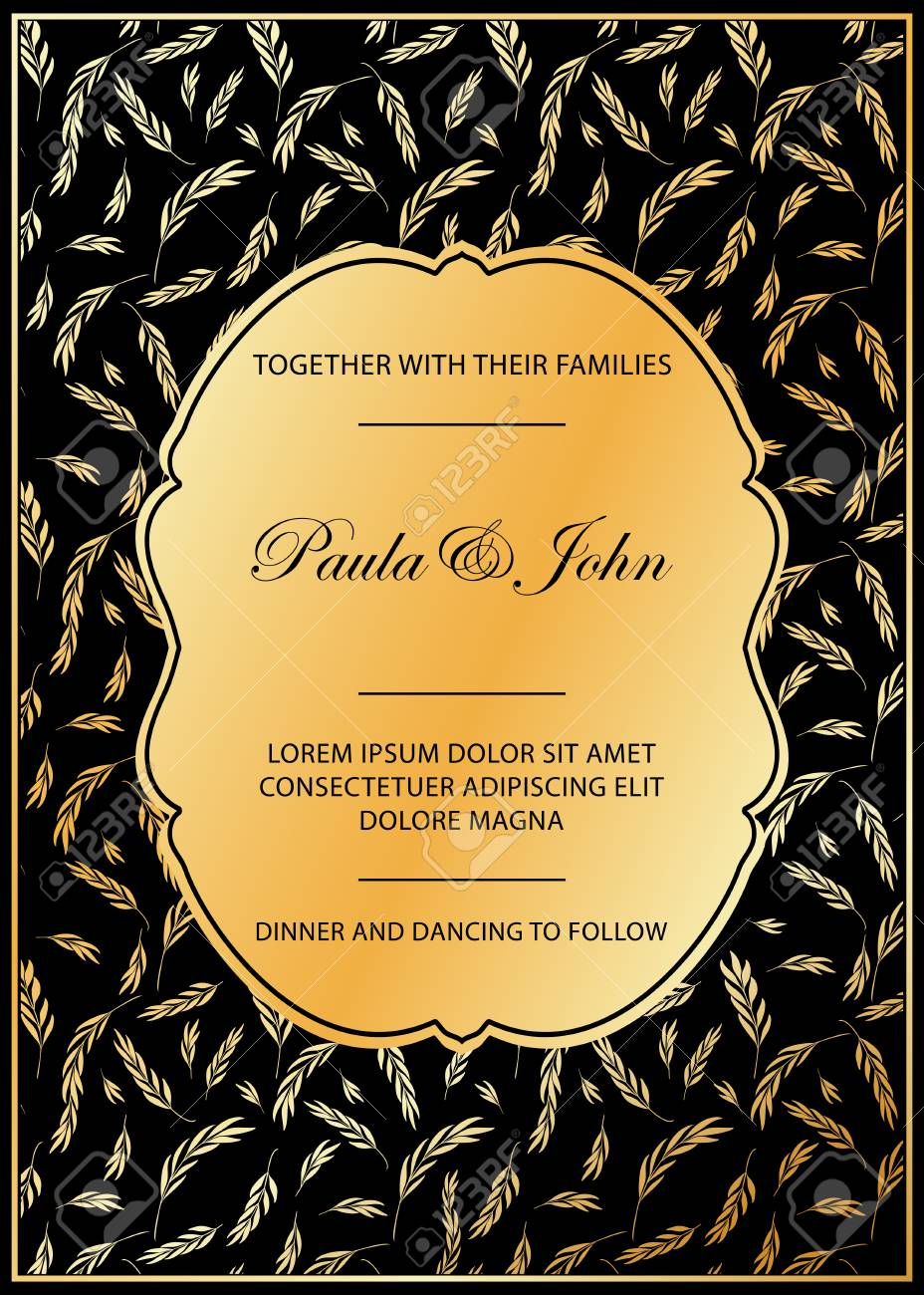 Stylish Wedding Card Vintage Wedding Invitation Template Save