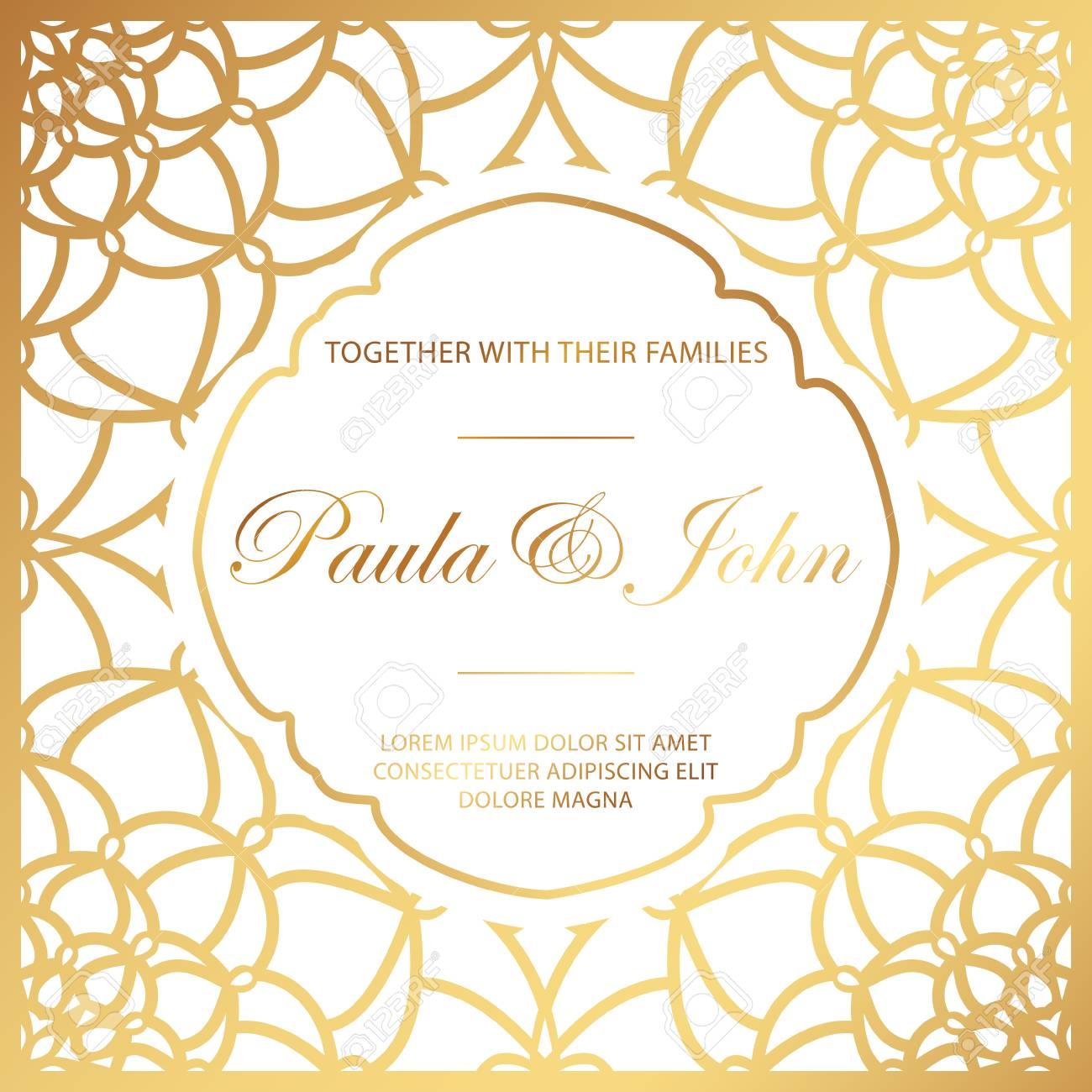 Stylish Gold And White Wedding Card. Royal Vintage Wedding ...