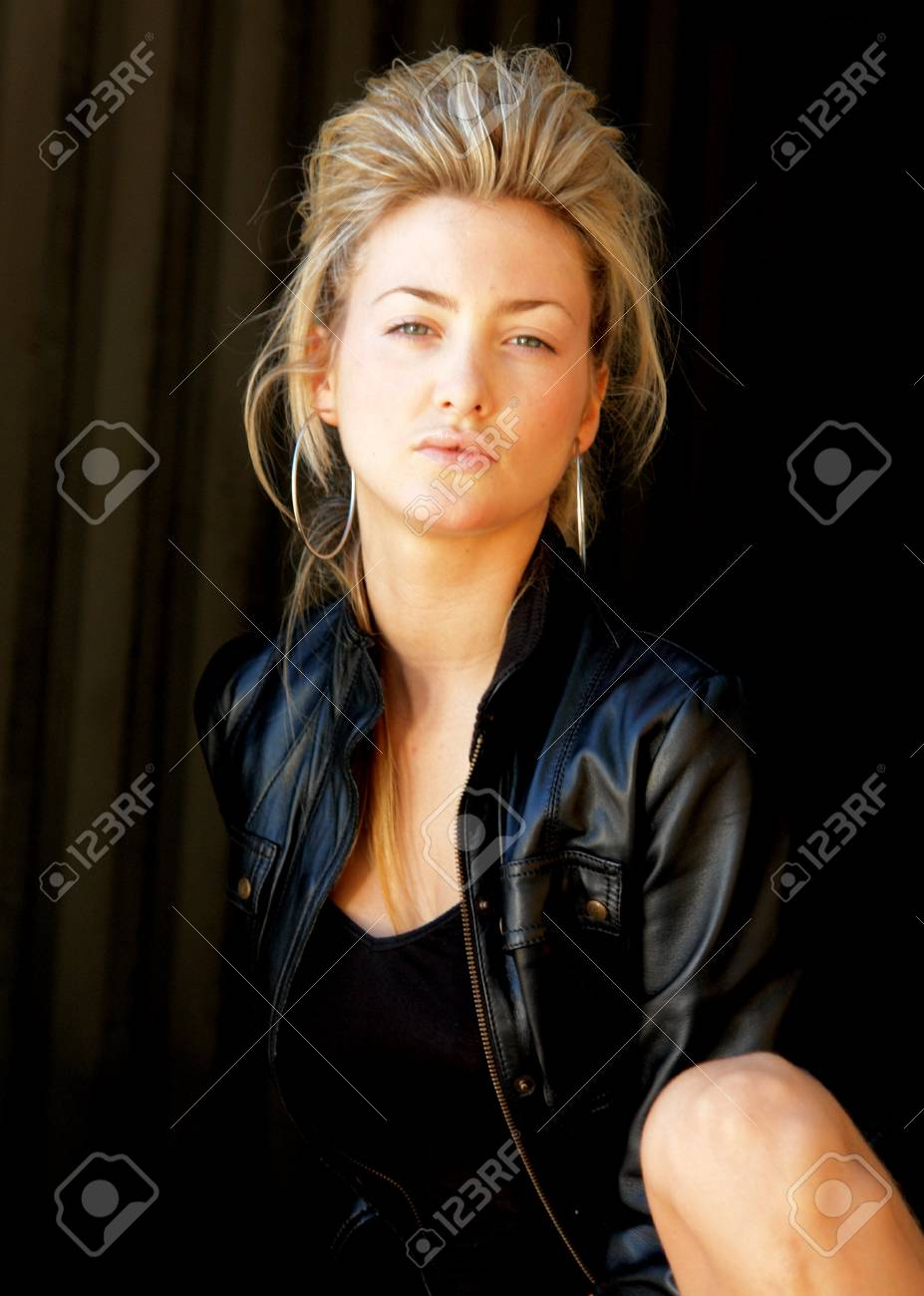 Blond punk girl with a leather jacked Stock Photo - 2601317