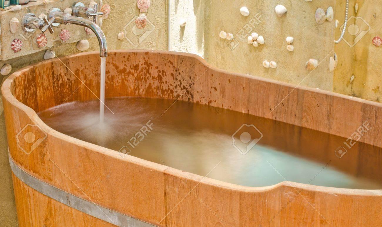 Wooden Bathtub In Barrel Shape Western Style Stock Photo Picture