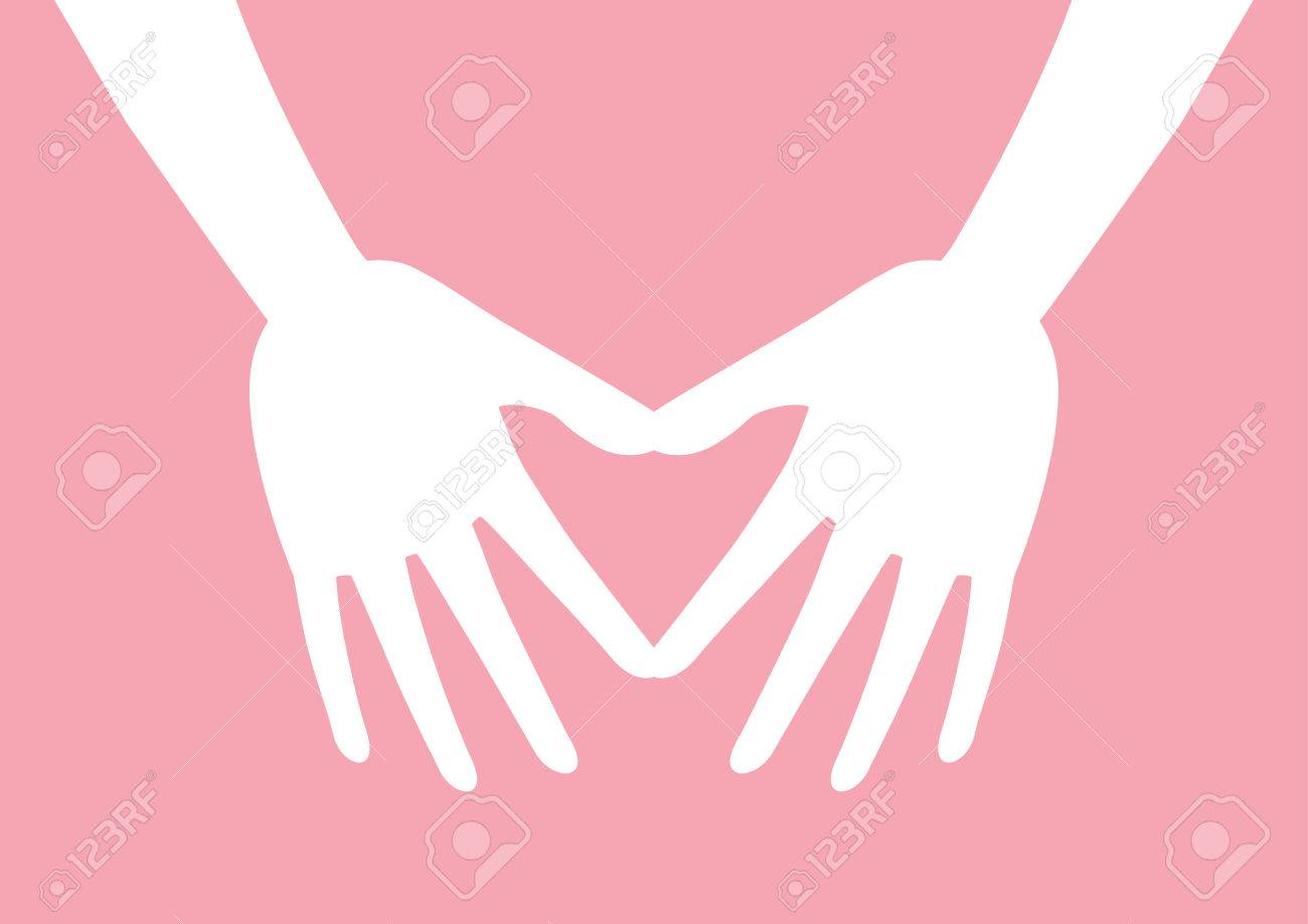 White Two Hands Shaping A Heart Symbol On Pink Background Vector