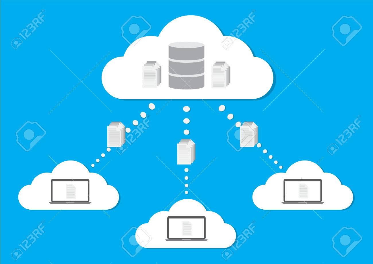 Cloud computing concept design cloud database  Vector illustration
