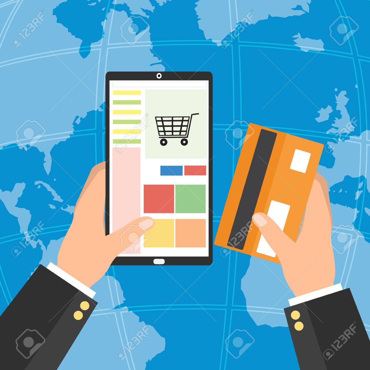Businessman holding tablet smart phone and credit card for online businessman holding tablet smart phone and credit card for online shopping on world map background gumiabroncs Gallery