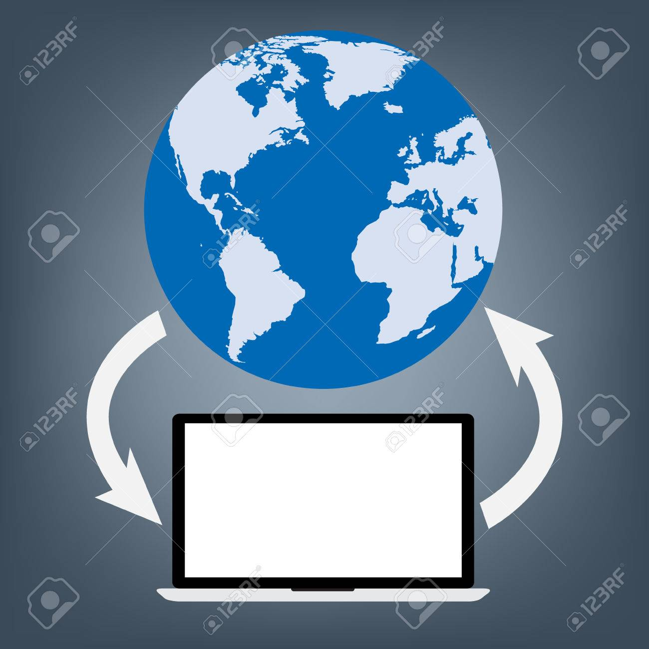 Computer laptop connected to world map globe for upload and download computer laptop connected to world map globe for upload and download data vector illustration cloud gumiabroncs Choice Image