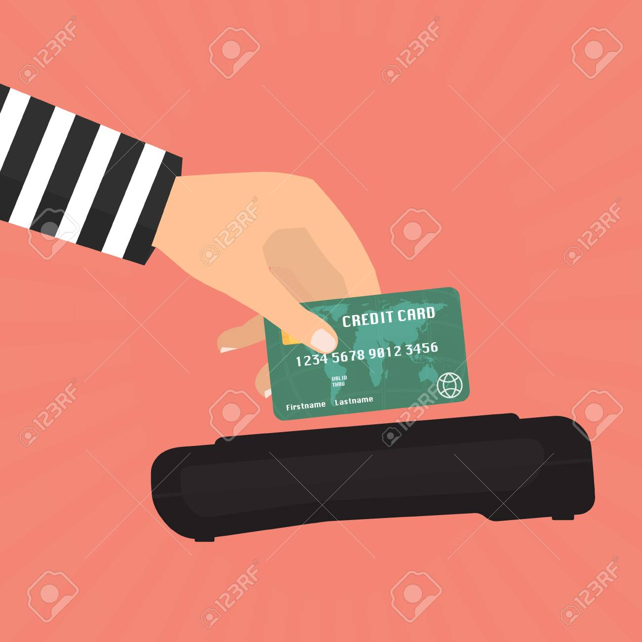 Hacker Theft Hand Holding A Credit Card Fraud For Paying With ...