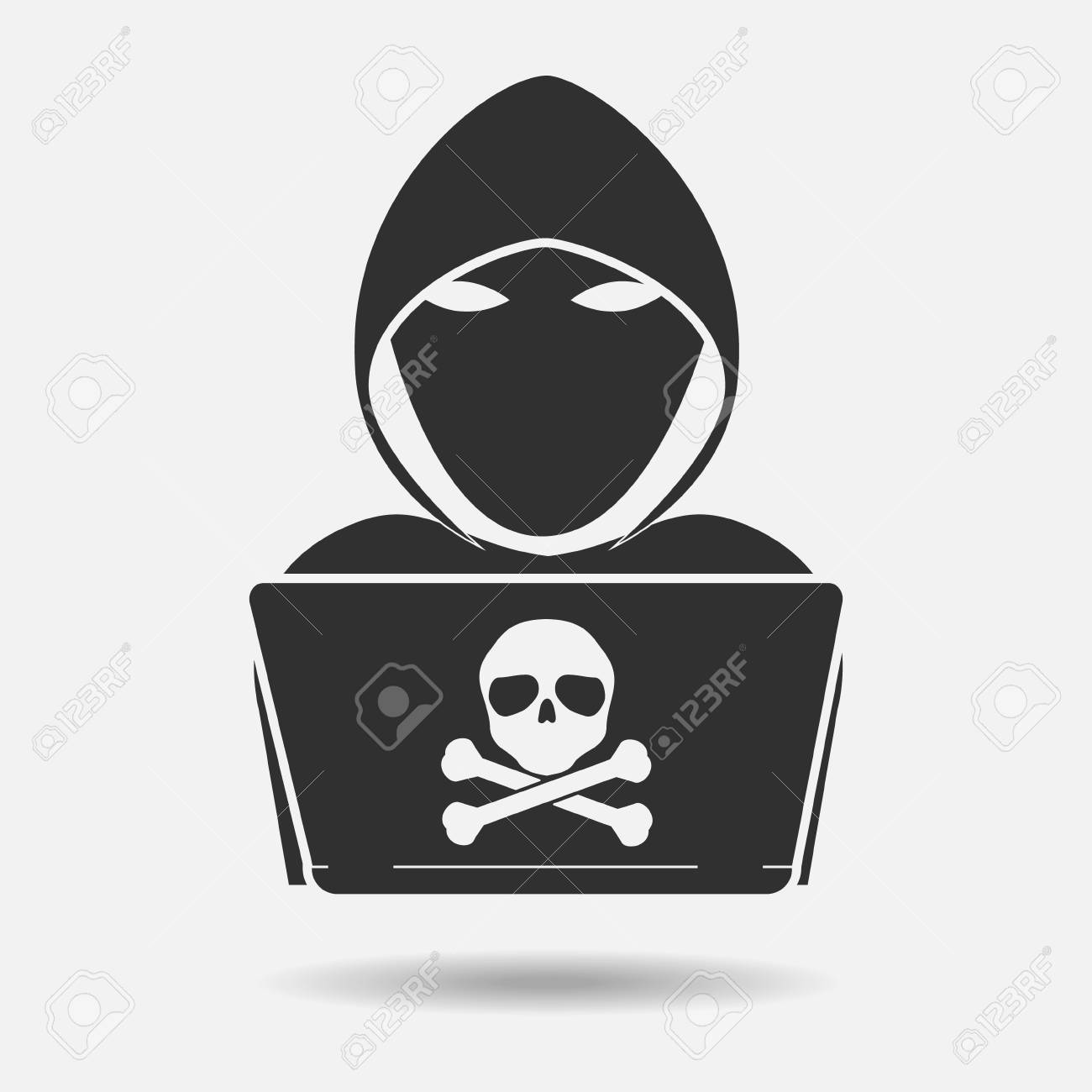 Hacker Icon Black Shadow With Skull Cross Bone On White Background Royalty Free Cliparts Vectors And Stock Illustration Image 79879544