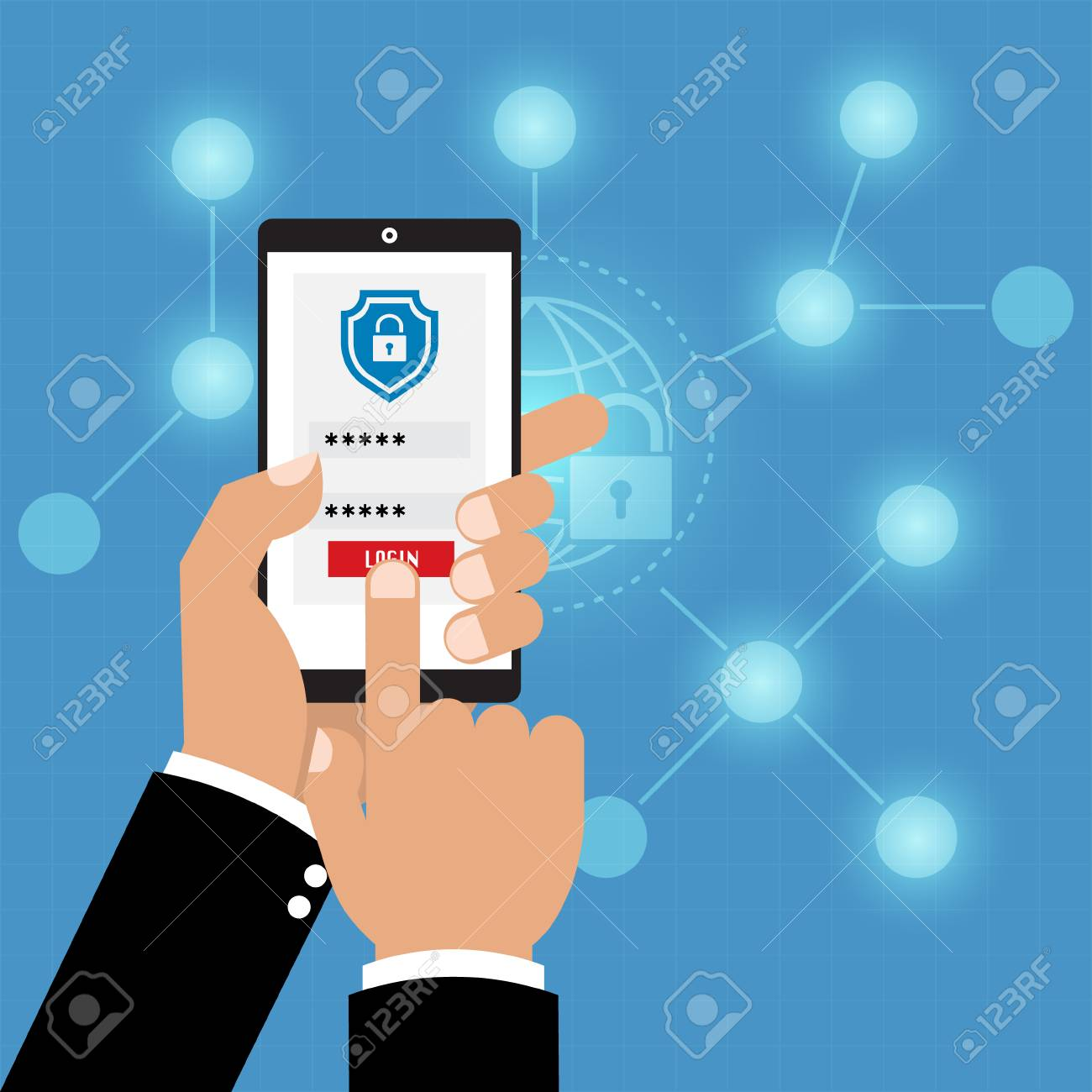 123Rf Password authentication with phone security key and password login. vector