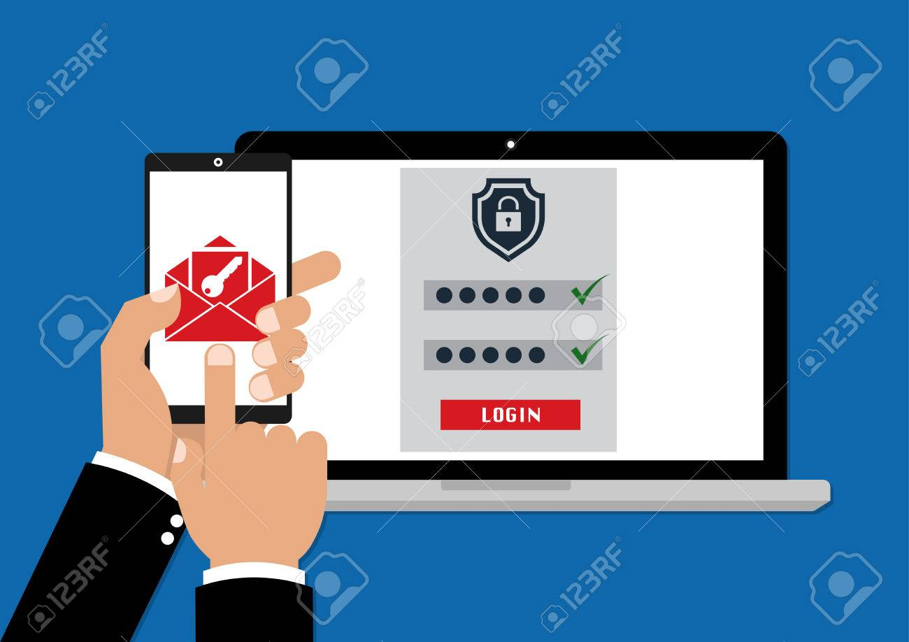 123Rf Password two factor authentication with phone email security key and password