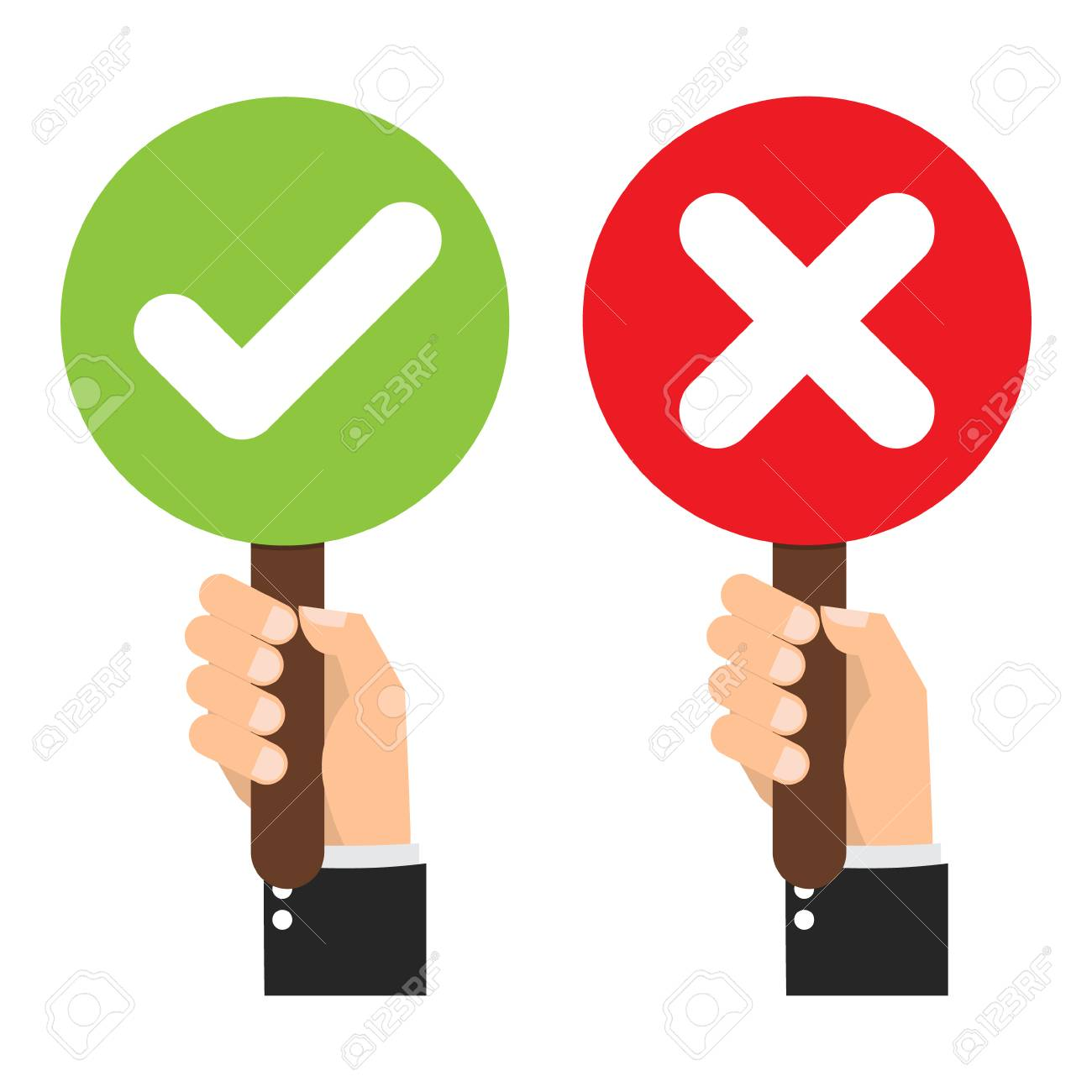 Businessman hand hold signboard Green check mark and red X mark Right and Wrong for feedback. Cartoon flat vector illustration business concept. - 91962781