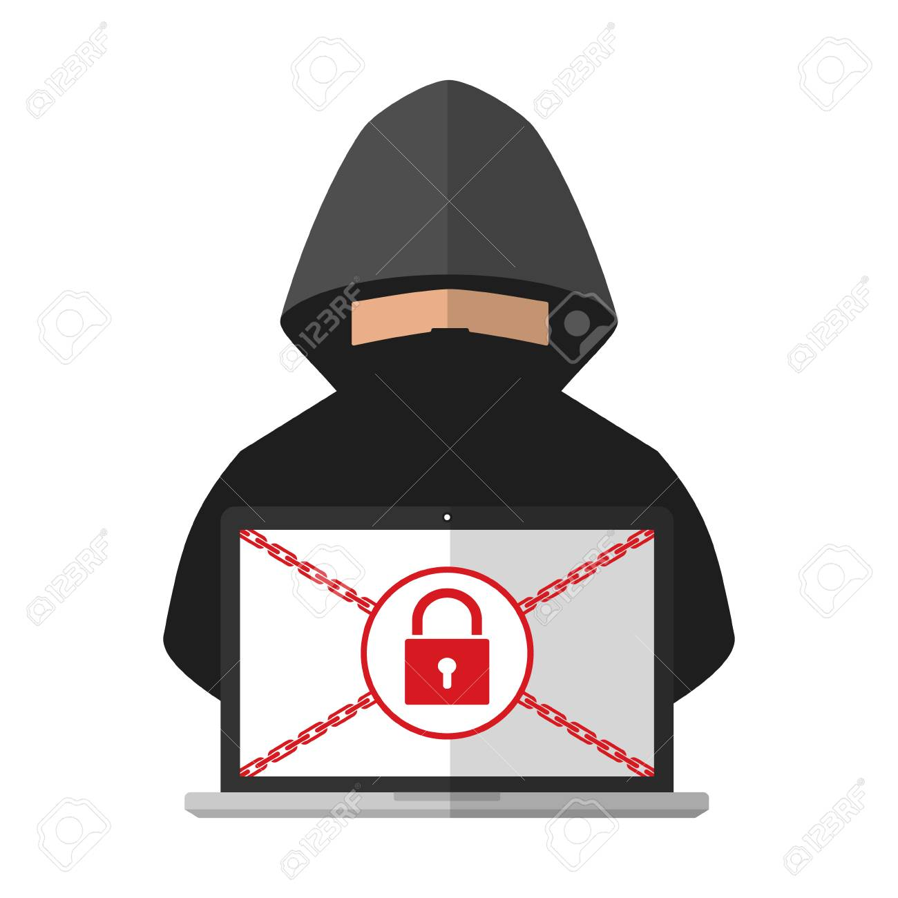 Thief hacker locked a victim computer laptop folder for ransom with ransomware malware virus computer on white background. Vector illustration cybercrime technology data privacy and security concept. - 92170976