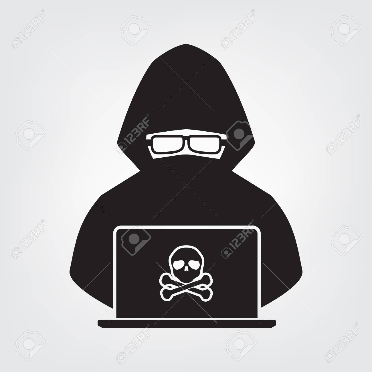 Hacker Icon Black Shadow With Skull Cross Bone On White Background Royalty Free Cliparts Vectors And Stock Illustration Image 92121319