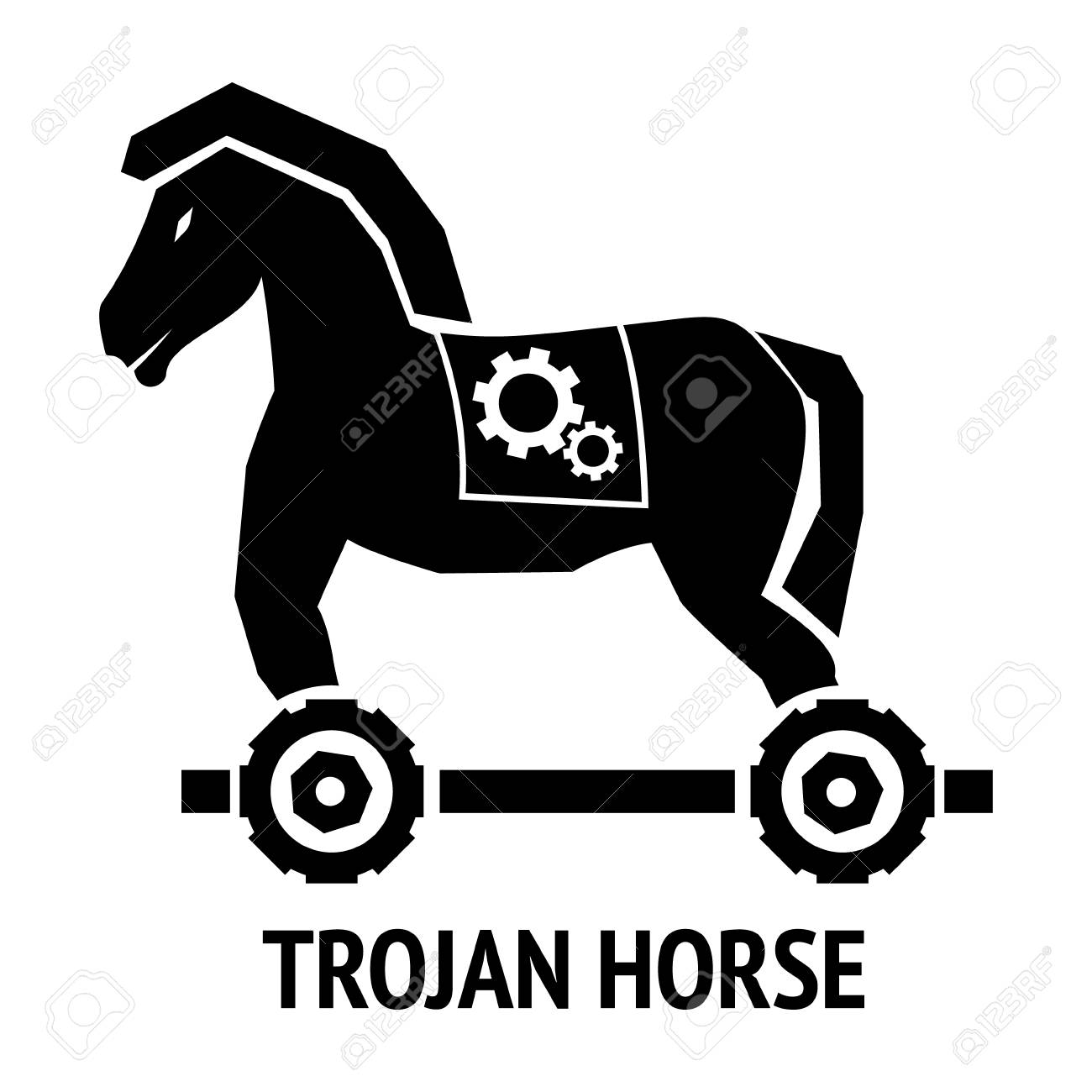 Trojan Horse Malware Virus Computer Sign Isolated On White Background Royalty Free Cliparts Vectors And Stock Illustration Image 92121463