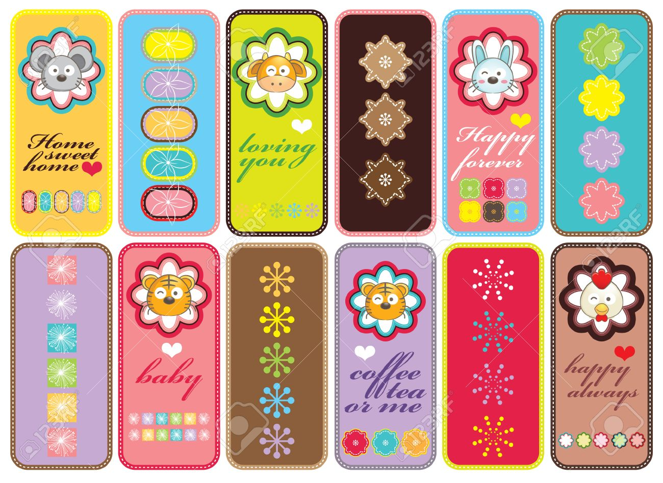 Set Of Bookmark Design Royalty Free Cliparts, Vectors, And Stock ...