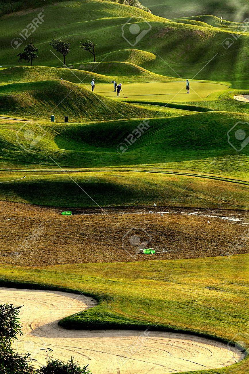golf place with nice green Stock Photo - 11102776