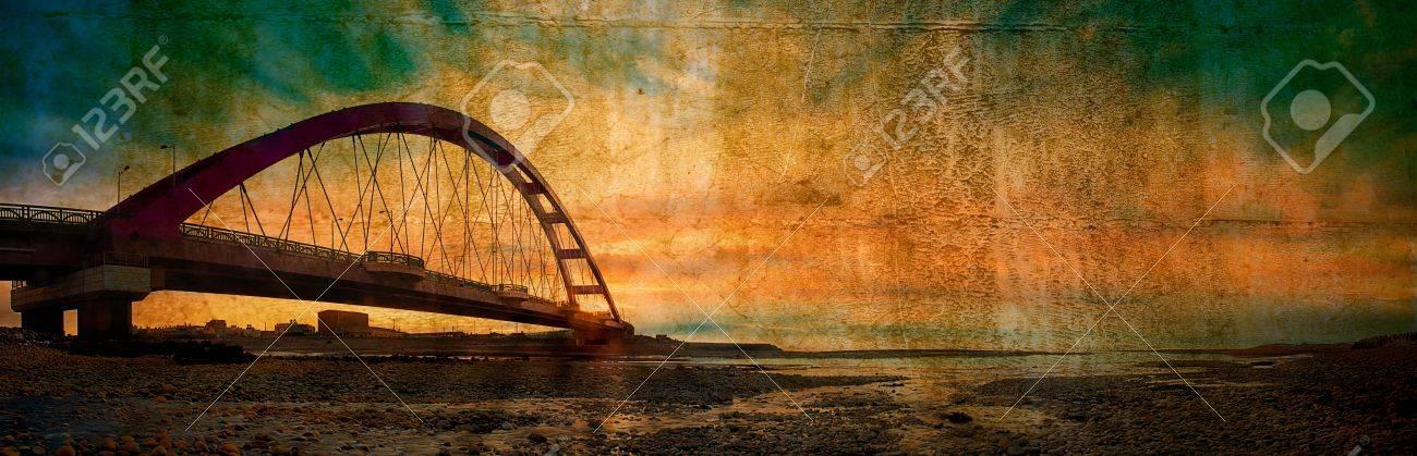 Color Red Bridge Sunset, Chuk Yuen, Taoyuan County, Taiwan Stock Photo - 11723006