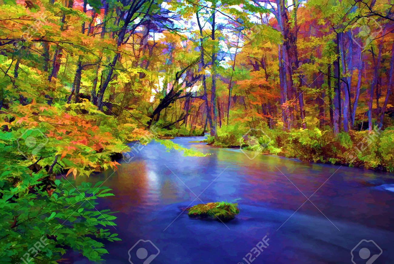 Autumn Colors of Oirase River, located at Aomori Prefecture Japan Stock Photo - 12476327