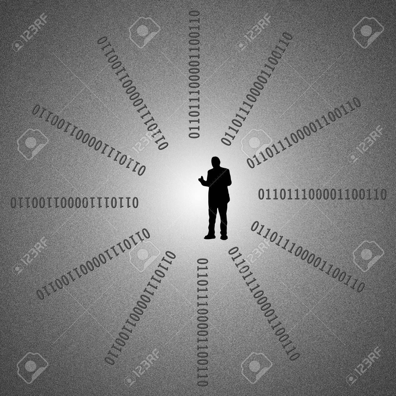 Binary code on detail pixelated screen Stock Photo - 16882483