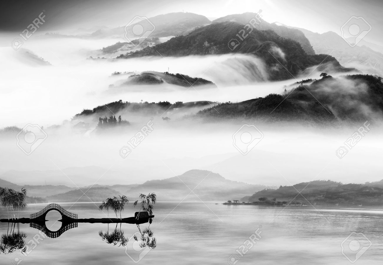 Painting Style Of Chinese Landscape For Adv Or Others Purpose Use Stock Photo