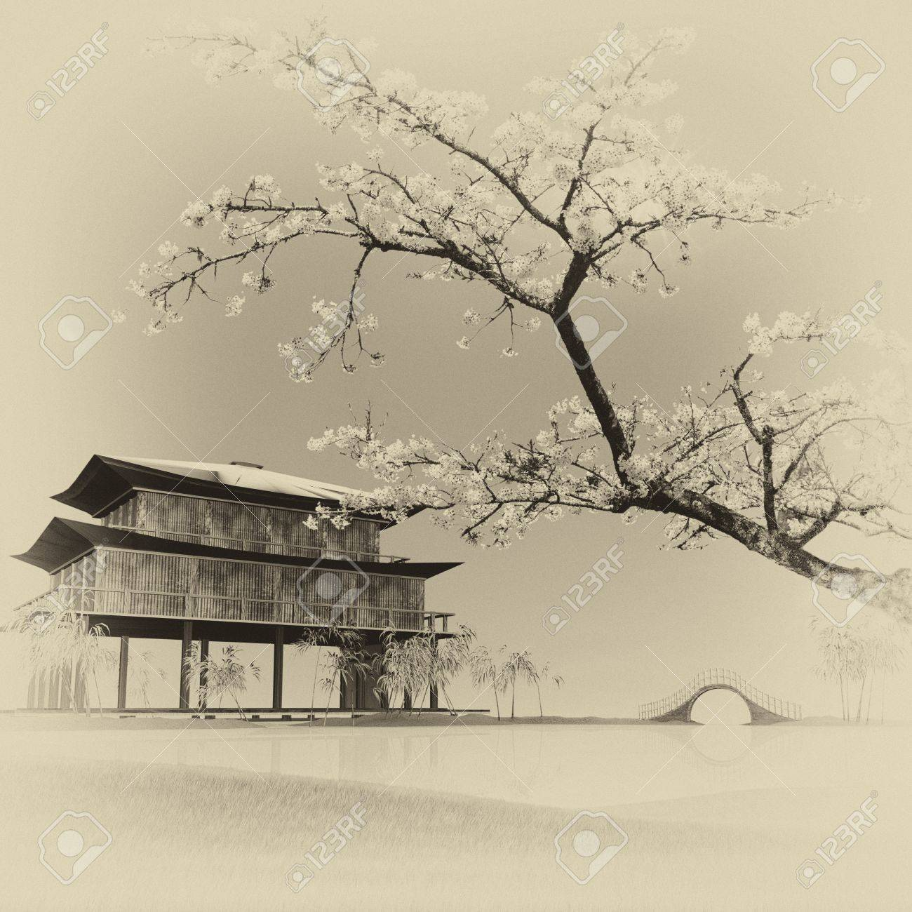 Painting style of china landscape for adv or others purpose use Stock Photo - 20287226