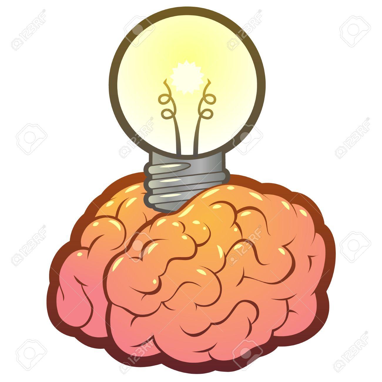 Lightbulb Brain Idea For Ideas Or Inspiration Stock Vector