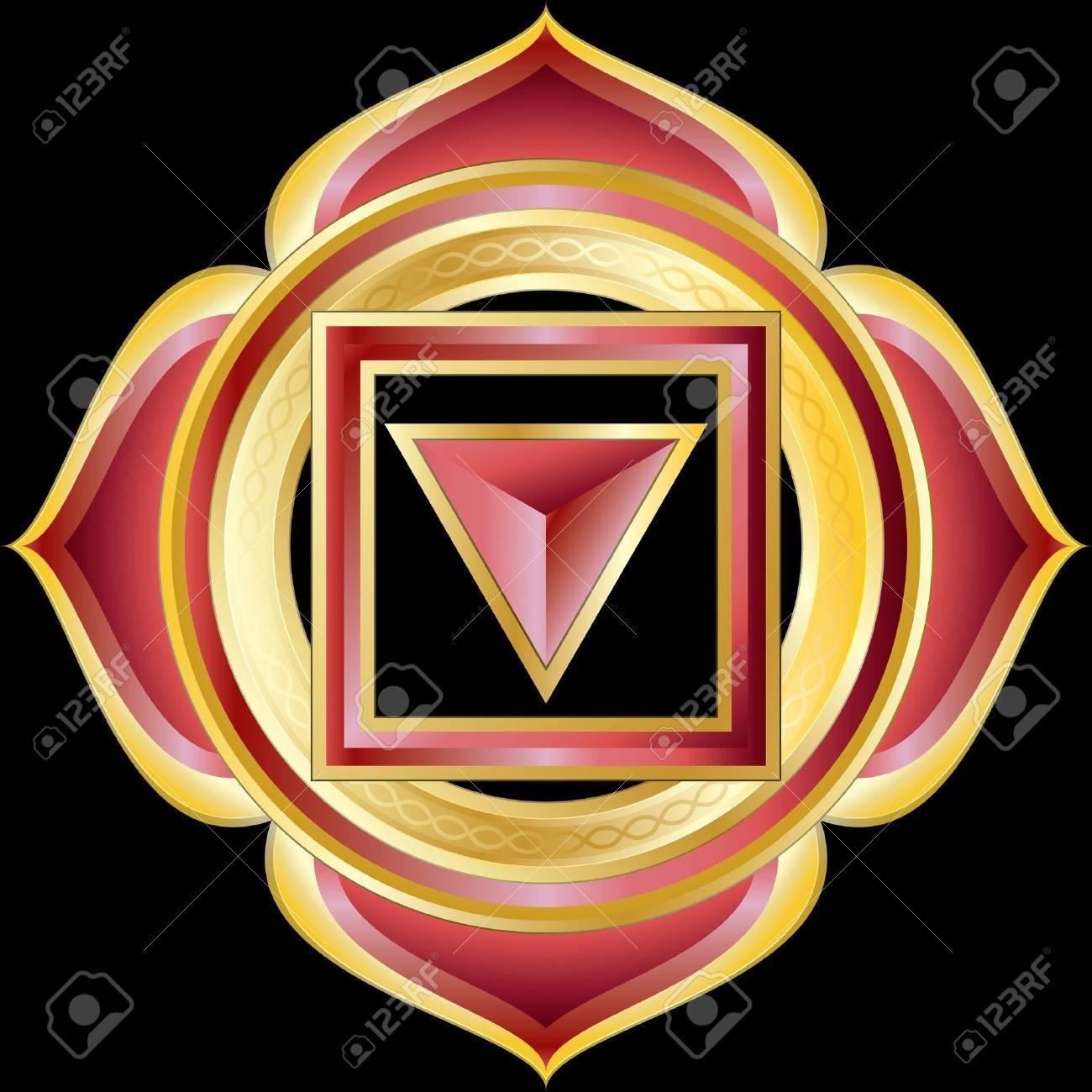 Medallion Award Badge or Hindu Chakra of Muladhara Stock Vector - 9931487
