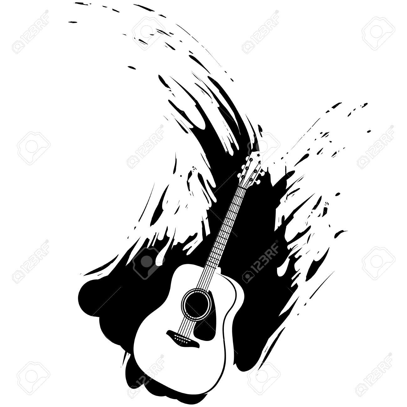 アコースティック ギター グランジ スプラッシュ デザインシルエット