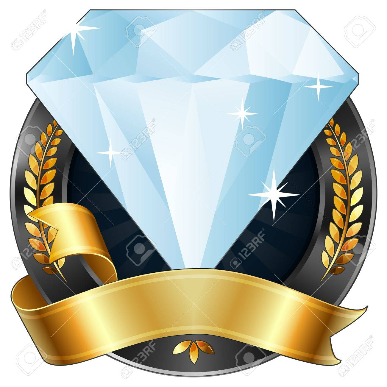 a sparkling diamond gem award or sports plaque medal. Gold ribbon is wrapped around it. Gold wreaths surround the reward. Representations include: Achievement, Winning, 1st Place, Best Player or Most Valuable Player of a game, Quality Product, or any othe Stock Vector - 10059638