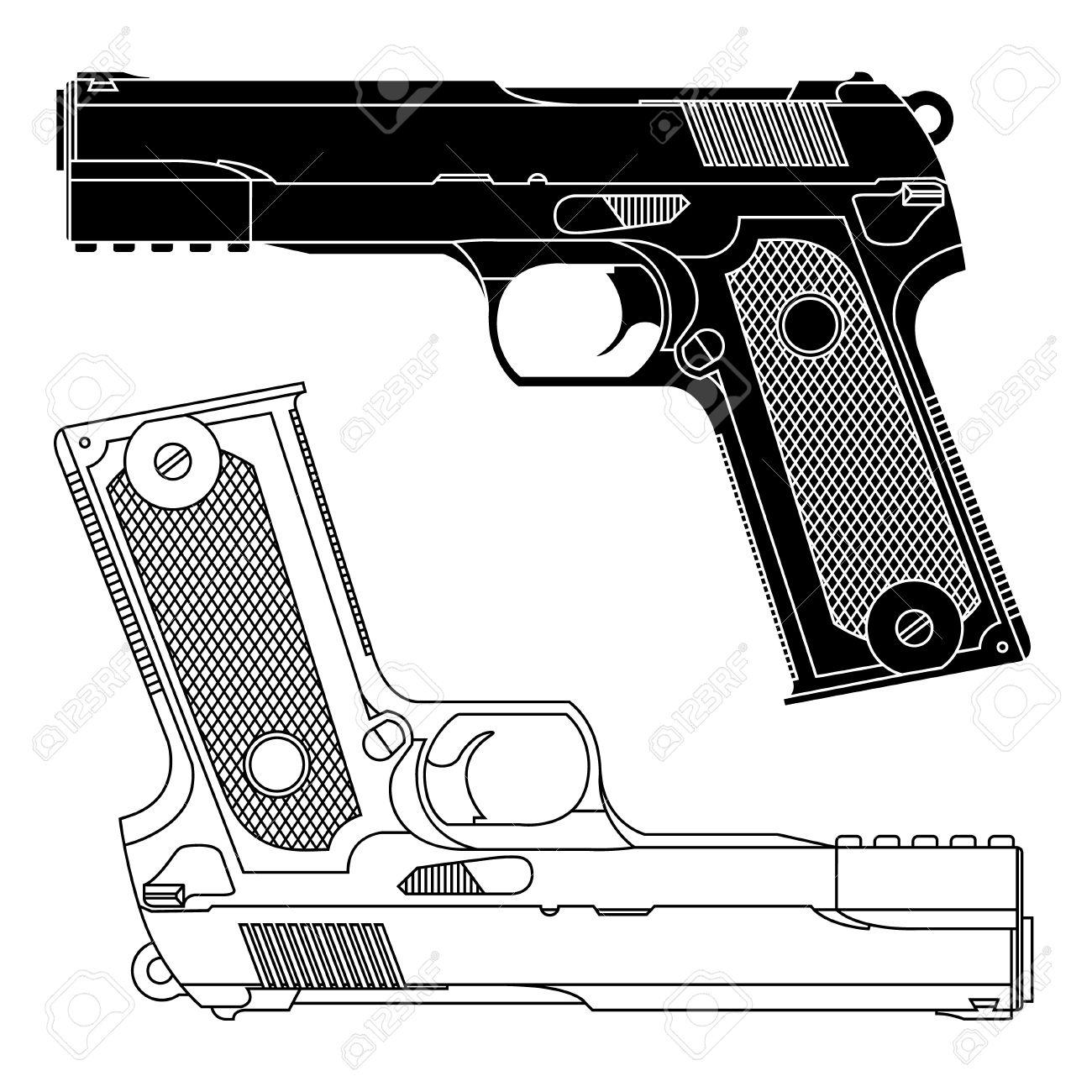 dibujo técnico de un arma de fuego pistola 9 milímetros líneas