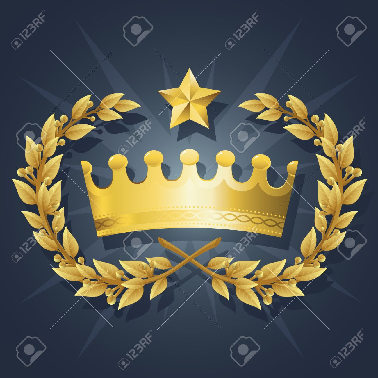 Illustration of Gold King Crown with Quality Laurel Wreath and Champion Star. Representations include: Power, Success, Victory, Quality, First Place, 1st, Best, Winner, MVP, honor. Stock Vector - 10535583