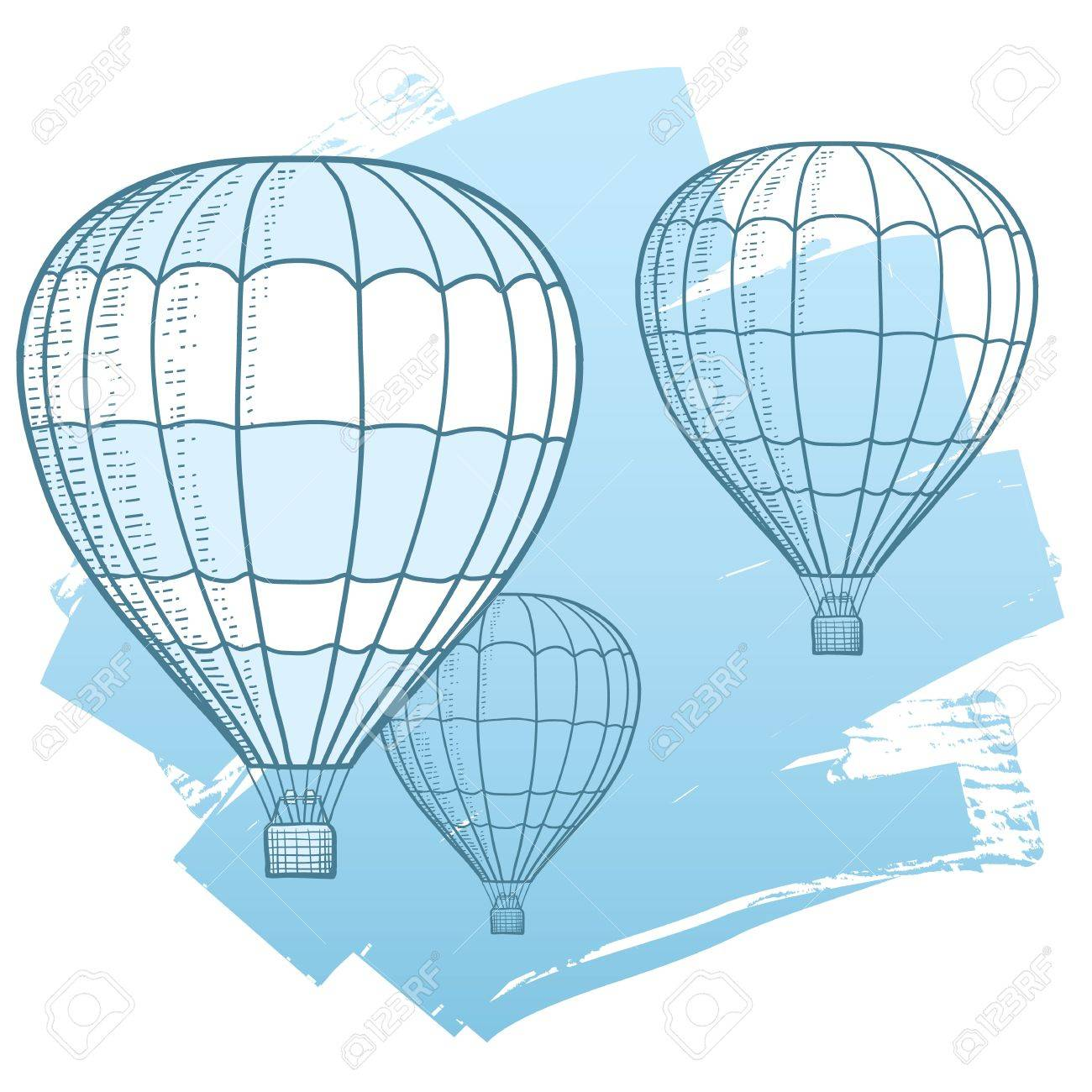 Drawing Illustration of hot air balloons floating in the sky  Represents freedom, travel, mobility, and fun Stock Vector - 13543766