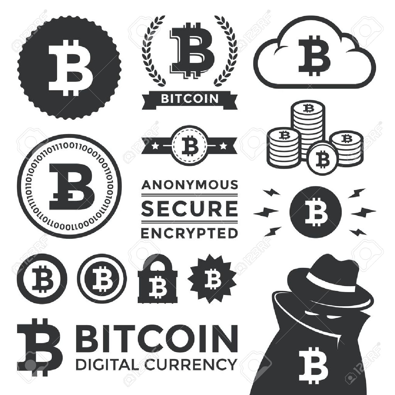 Currency Design Elements Bit Coin Design Elements