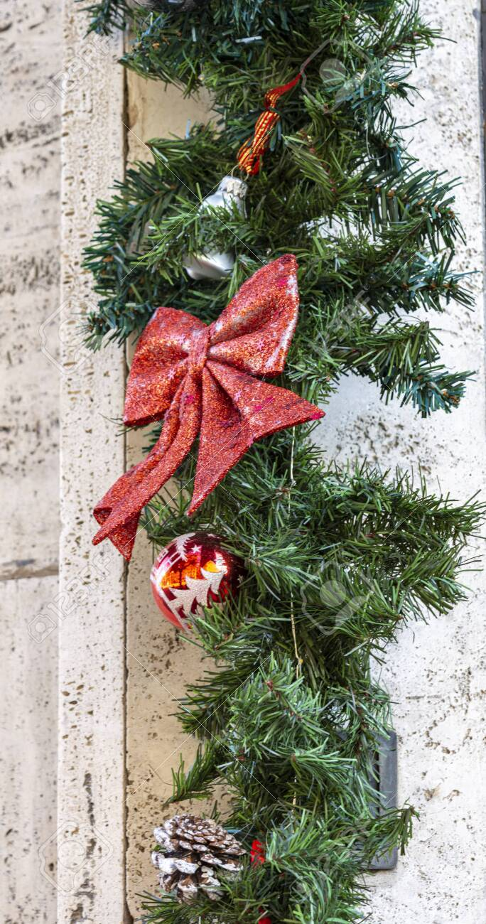 Christmas Decoration On The Wall Of An Apartment Building Christmas Stock Photo Picture And Royalty Free Image Image 144780177