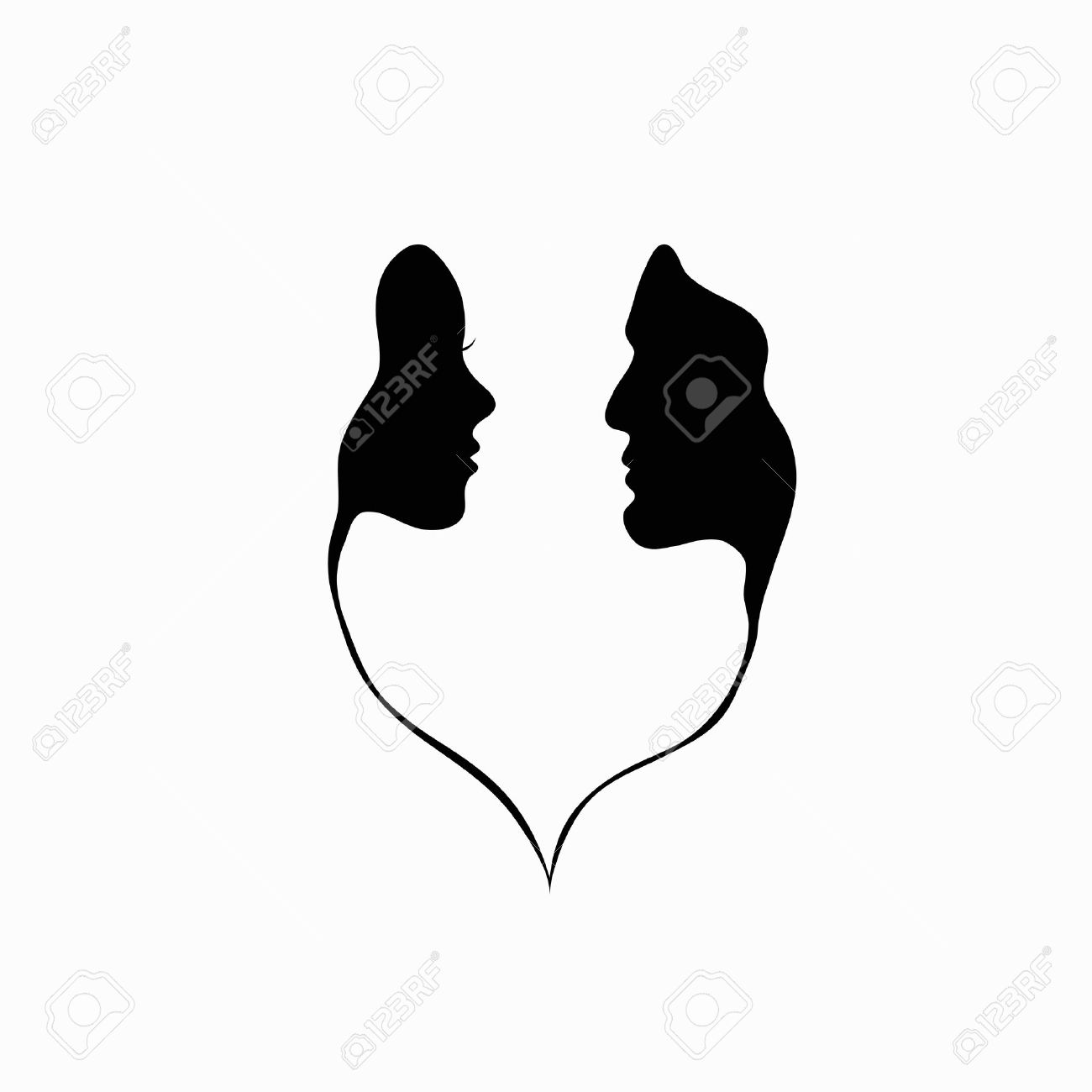 A man and a woman black and white silhouette of lovers stock vector 15416604