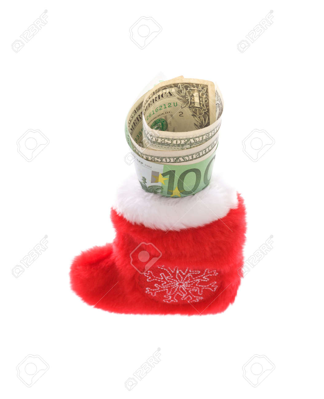Red christmas sock with euro covering dollars cash money isolated on white Stock Photo - 3749031