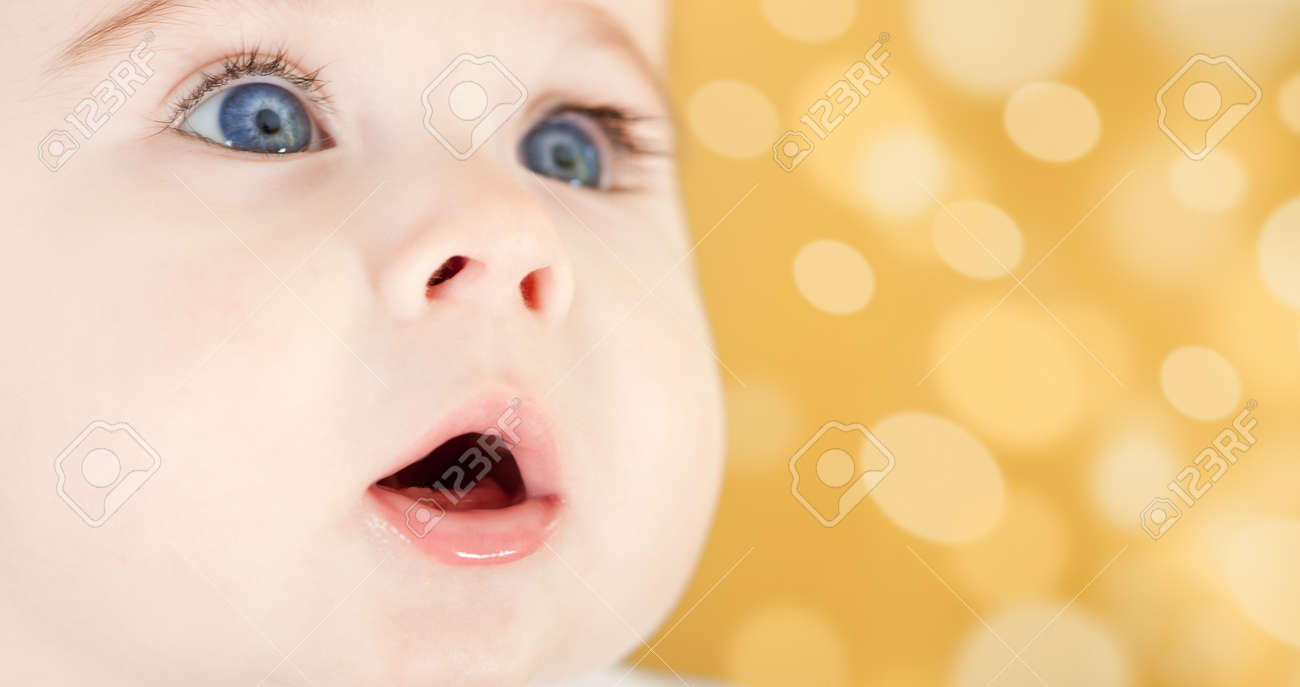 Portrait of adorable blue-eyes baby. Face close-up Stock Photo - 4370994