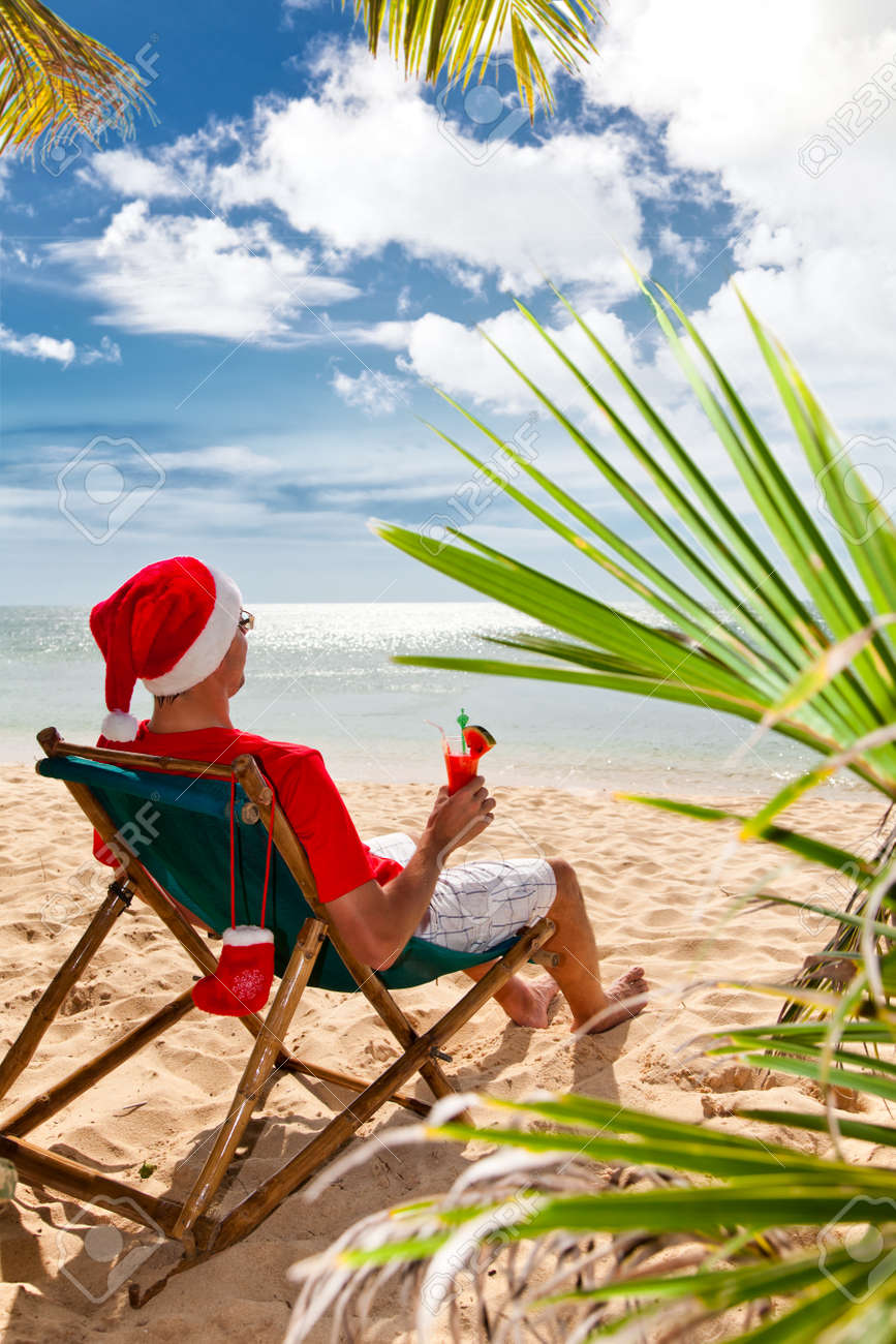 Tropical Christmas.Tropical Christmas Man In Santa