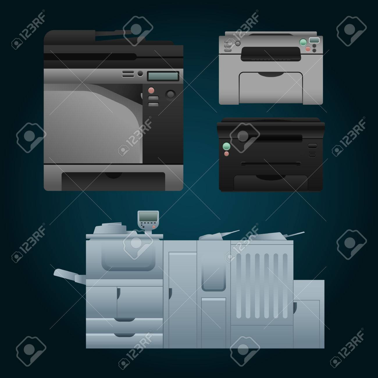 Set of color laser printer in vector  Digital print machine design