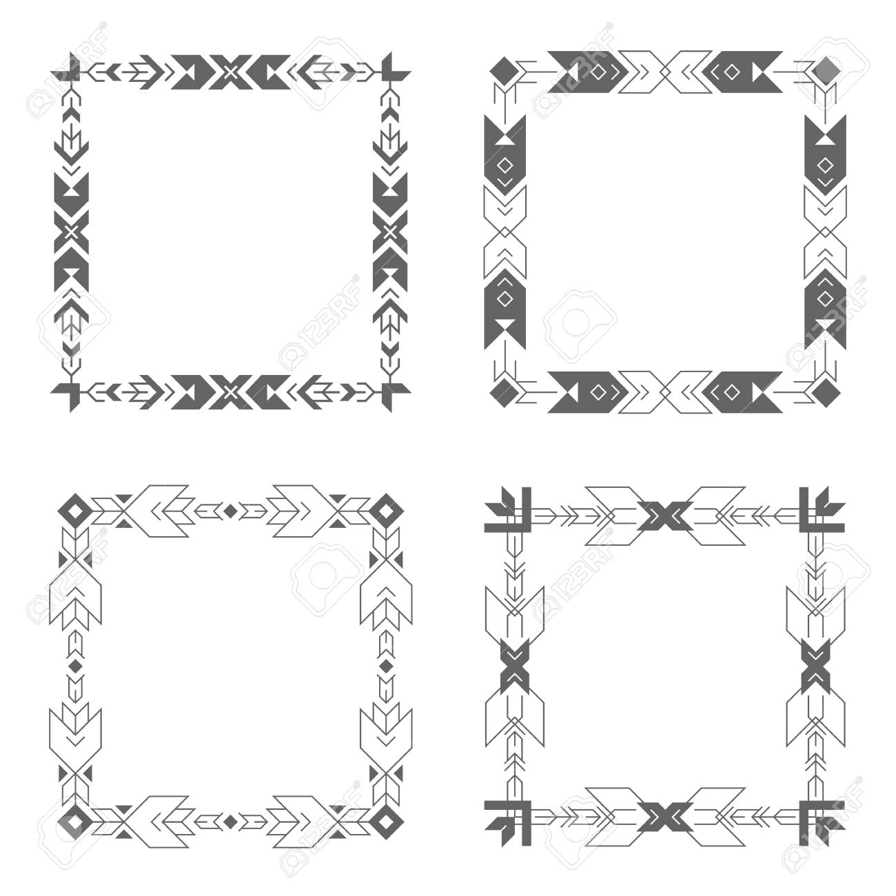 Frame Outline Collection Including Geometric Lines And Shapes ...