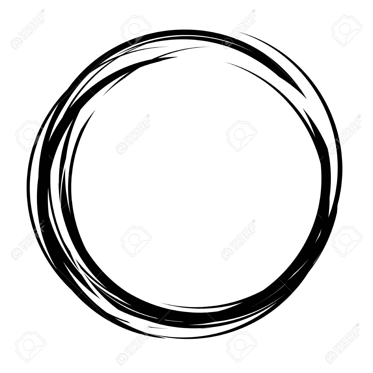Vector Abstract Circle Shape Hand Drawn Sketch Lines Black