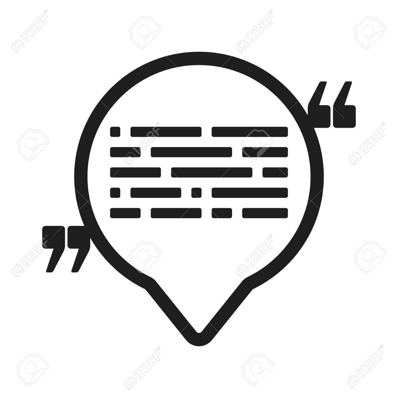 Vector Icon With Quote And Speech Balloon. Black Mark And Text ...