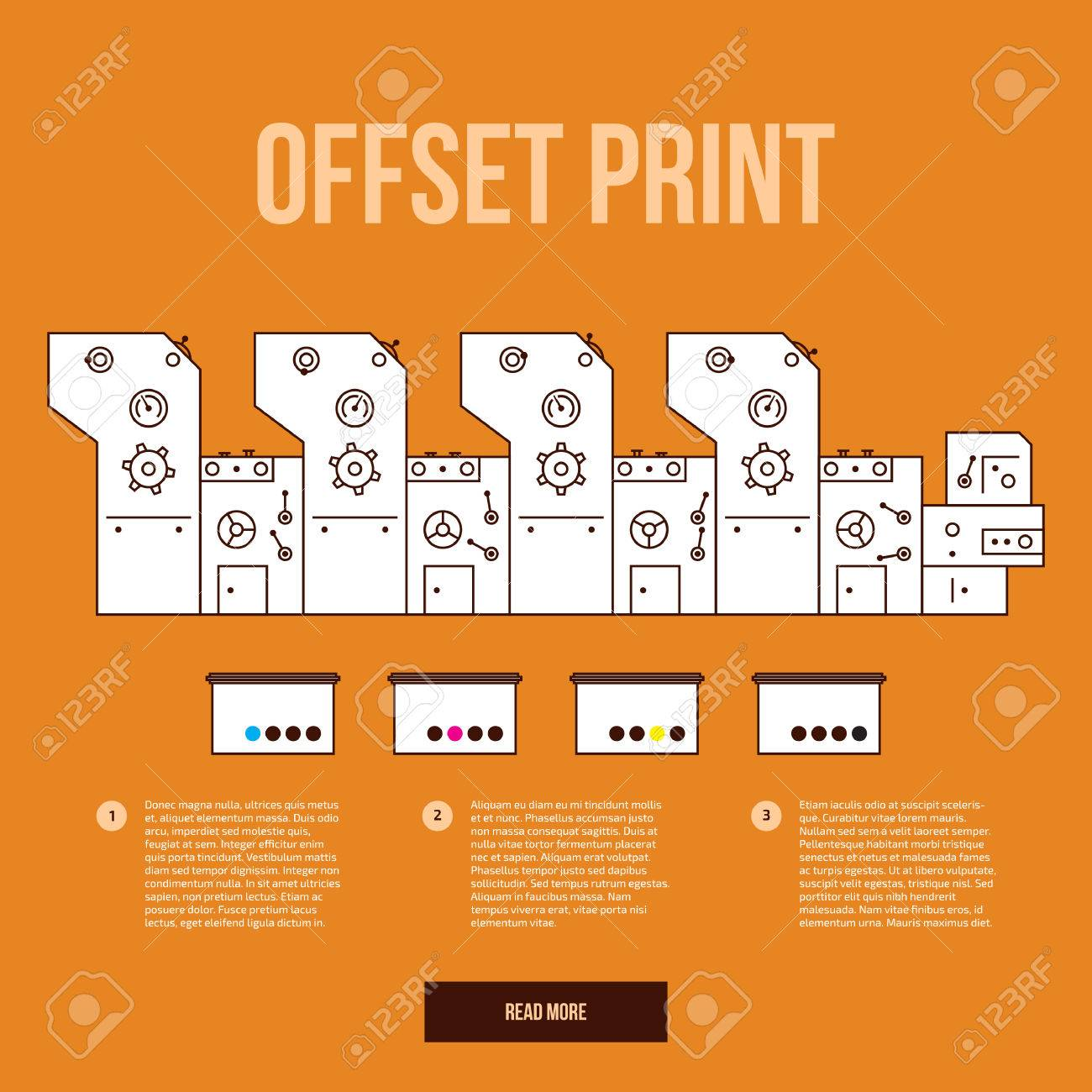 Advertisement Offset Machine Concept Color Paint For Print Printing Diagram Press Liquid Cyan Magenta Yellow