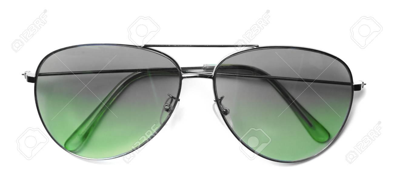 Isolierte Flieger-Sonnenbrille Mit Grünen Gläsern Lizenzfreie Fotos ...