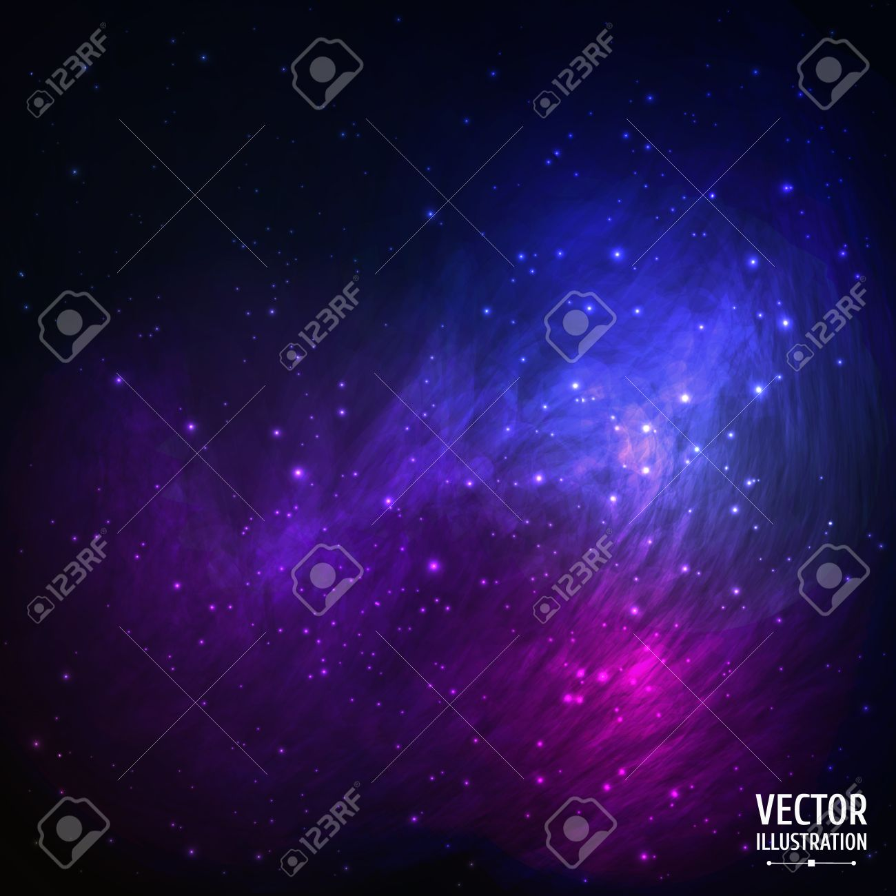 Colorful Space Galaxy Background with Light, Shining Stars, Stardust and Nebula. Vector Illustration for artwork, party flyers, posters, banners. - 34647761