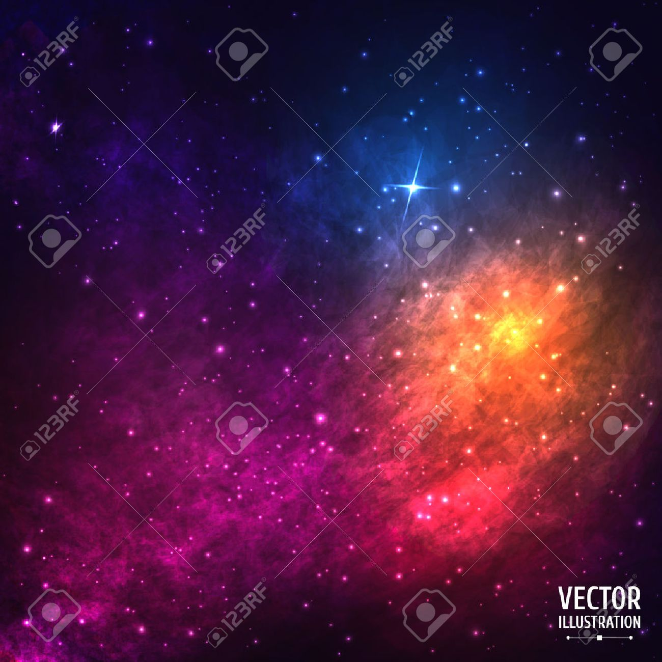 Colorful Cosmic Background with Light, Shining Stars, Stardust and Nebula. Vector Illustration for artwork, party flyers, posters, banners - 40843131