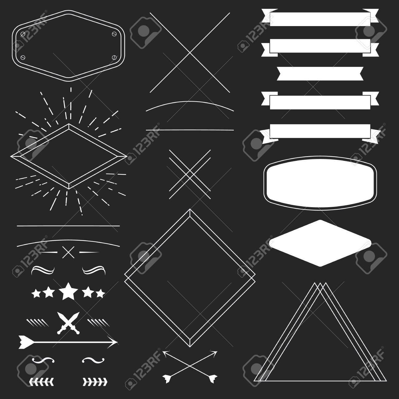 Conjunto De Elementos De Diseño Inconformista Vintage Como Marcos ...
