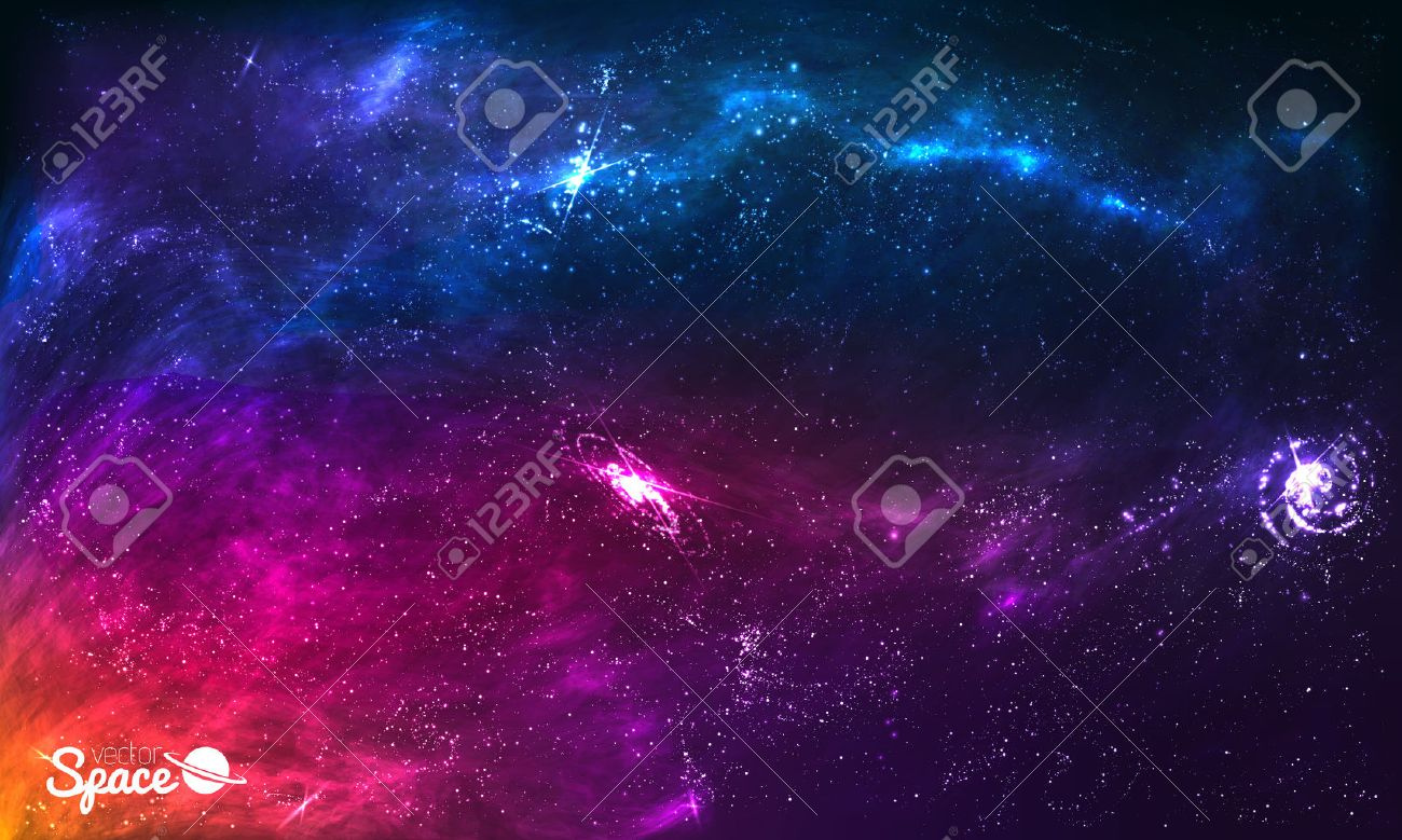 Colorful Space Galaxy Background with Shining Stars, Stardust and Nebula. Vector Illustration for artwork, party flyers, posters, brochures - 51376681