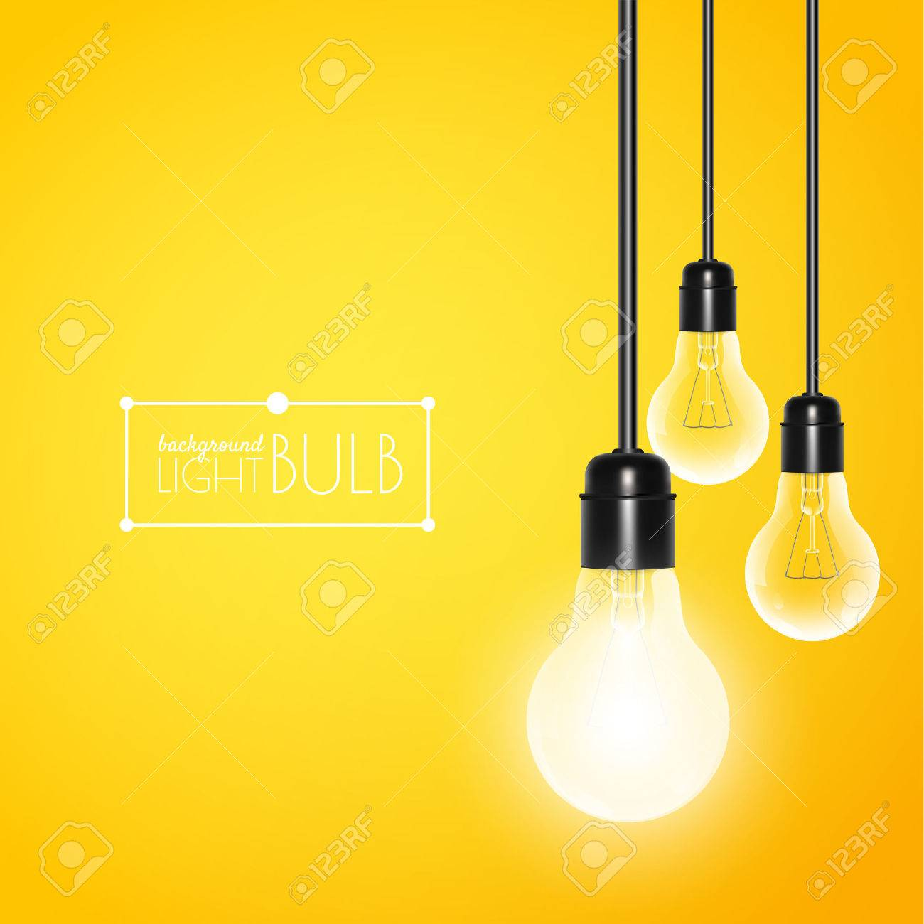 Hanging light bulbs with glowing one on a yellow background. Vector illustration for your design. - 51376609