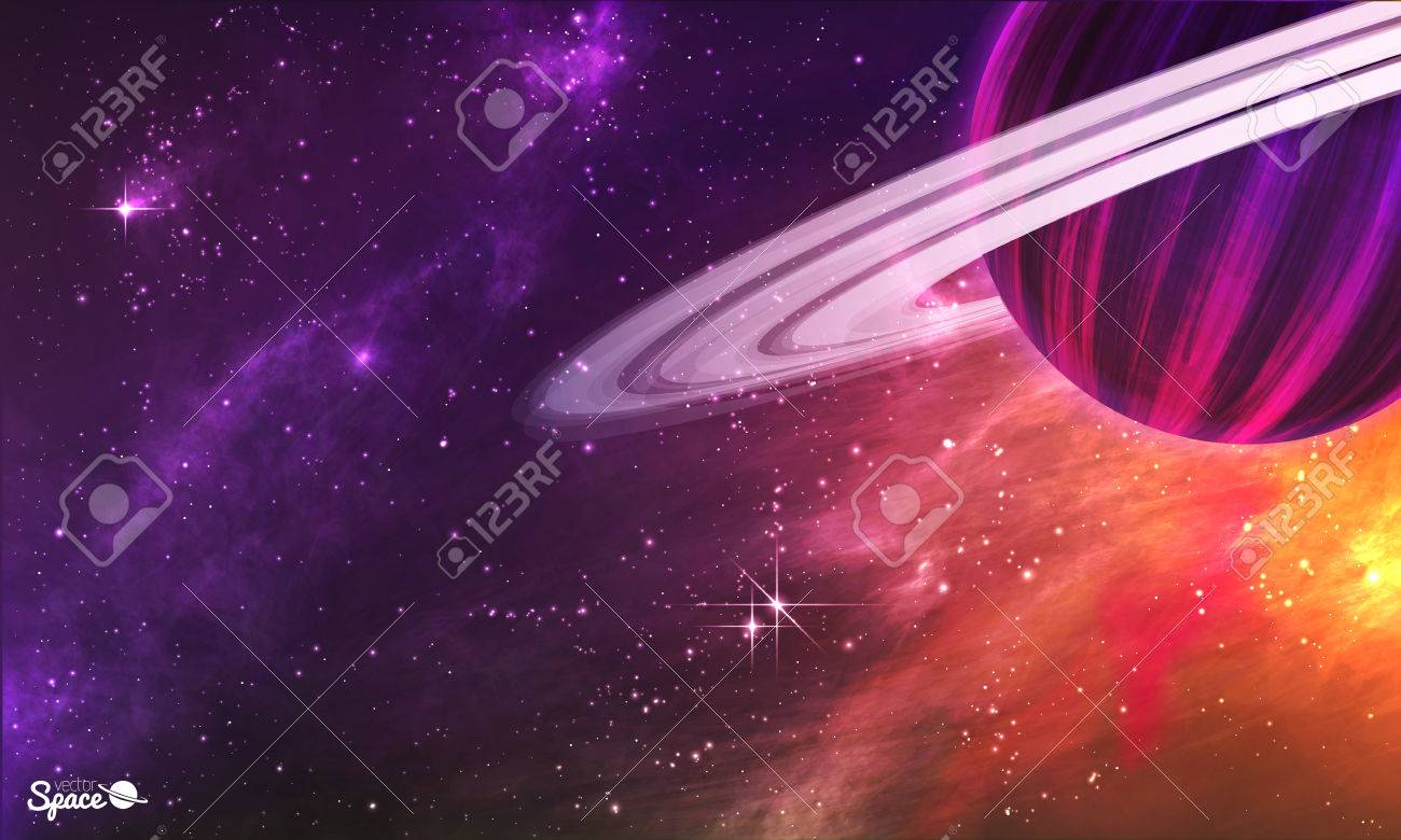 Saturn-like planet with asteroid belt on colorful outer space background. illustration - 52827783