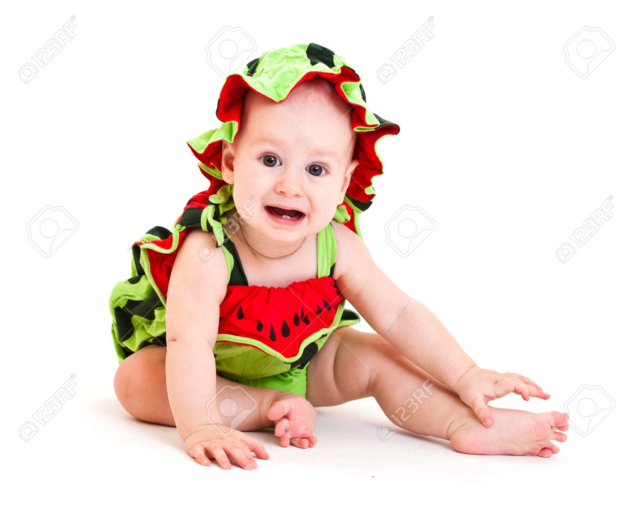Portrait of cute little boy in watermelon costume. Isolated on white Stock Photo - 11282205  sc 1 st  123RF.com & Portrait Of Cute Little Boy In Watermelon Costume. Isolated On ...