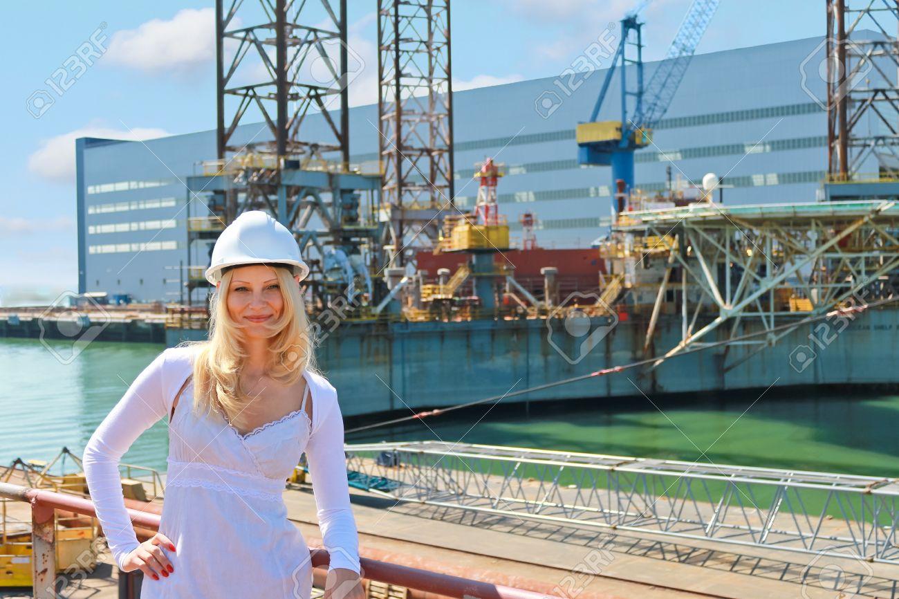 Woman engineer shipbuilder at the shipyard. Stock Photo - 15262549
